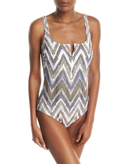 Golden Sand Square-Neck One-Piece Swimsuit