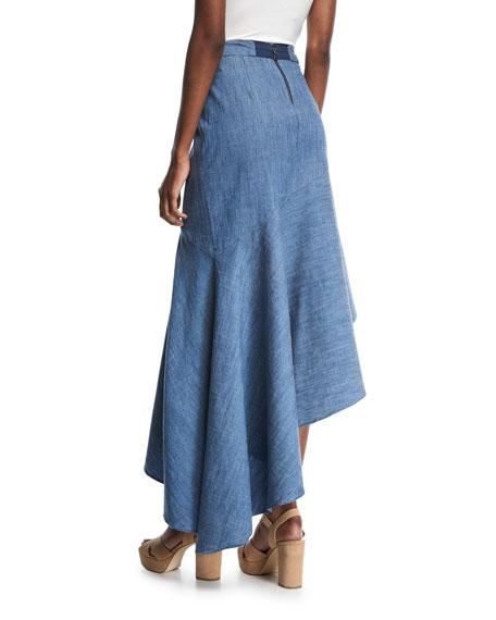 Molina Asymmetric Ruffled Chambray Maxi Skirt