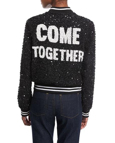 Lonnie Embellished Silk Bomber Jacket