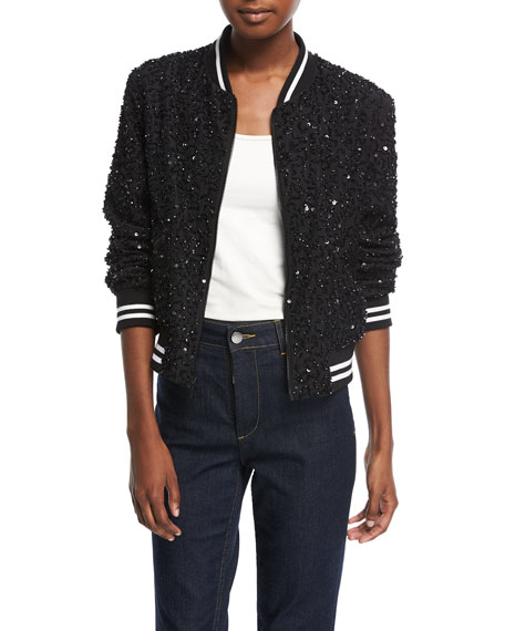 Lonnie Embellished Silk Bomber Jacket