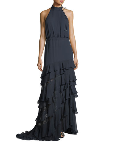 Stars In The Sky Asymmetric Ruffle Gown