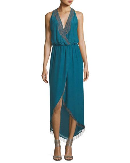 Falcon Surplice Lace-Trim Cocktail Dress