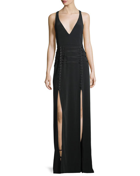 Philosophers Stone Lace-Up Double-Slit Gown