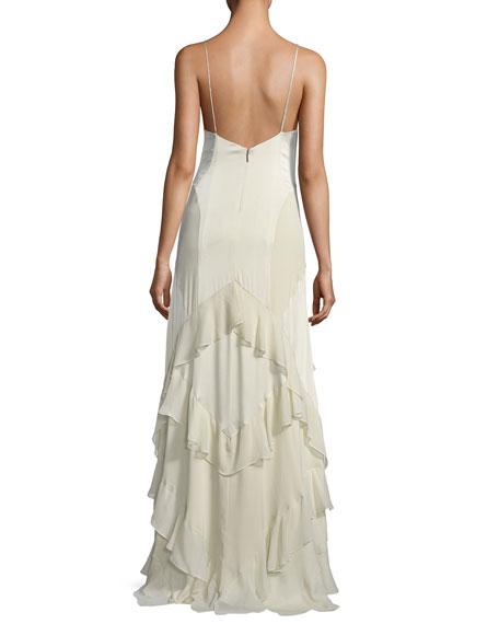 Melchizedek Long Wrapped Ruffle Evening Gown