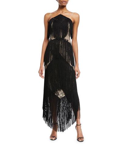 Elixer of Life Fringe Open-Back Cocktail Dress