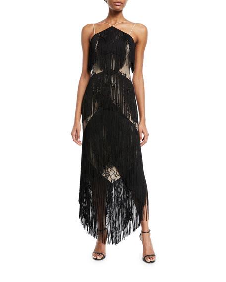 Elixir of Life Fringe Open-Back Cocktail Dress