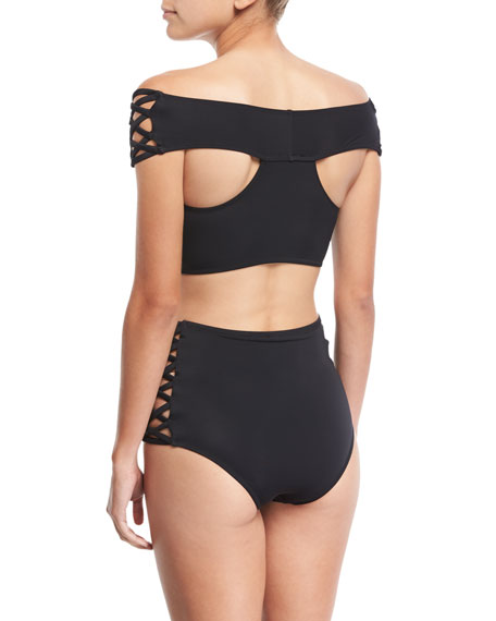 Lucette Lace-Up Off-Shoulder Two-Piece Swimsuit