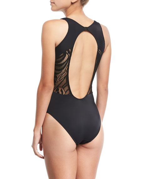 Elvira Lace Wrapped One-Piece Swimsuit