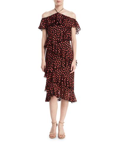 Annabeth Off-Shoulder Hearts Burnout Velvet Dress