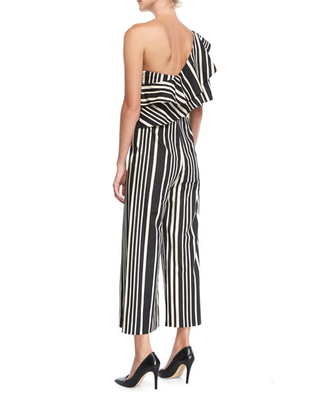 Sabeen Ruffle-Top Cropped Silk Jumpsuit