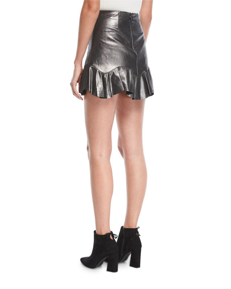 Metallic Leather Mini Skirt with Flounce Hem