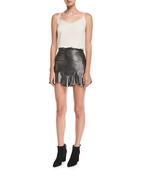 Metallic Leather Mini Skirt with Flounce Hem