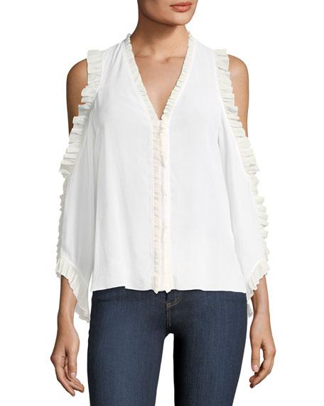 Claudette V-Neck Cold-Shoulder Silk Blouse