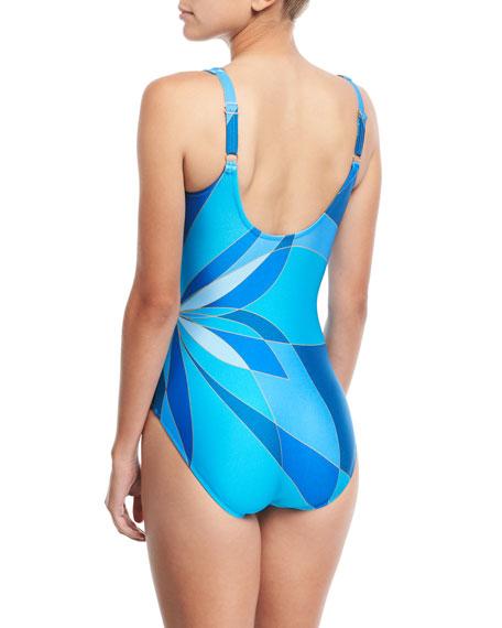 Kaleidoscope-Print Surplice V-Neck One-Piece Swimsuit