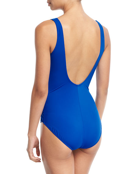 Lattice Surplice-Neck Solid One-Piece Swimsuit