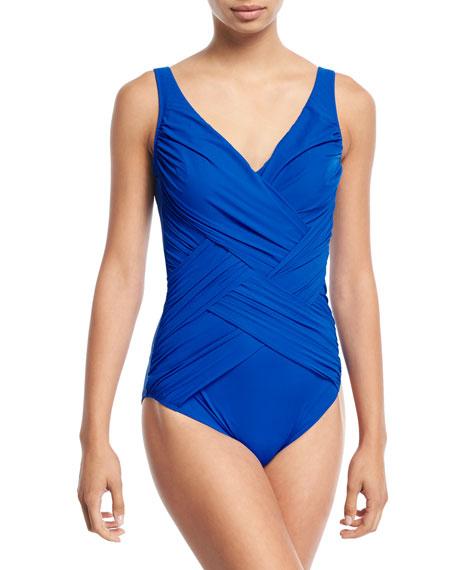 Lattice Surplice-Neck Solid One-Piece Swimsuit