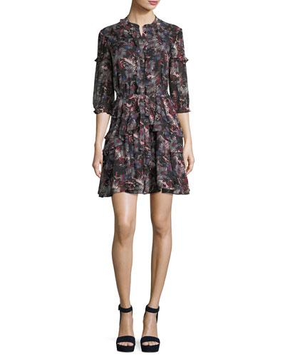 Tilly 3/4-Sleeve Ruffle Shirtdress