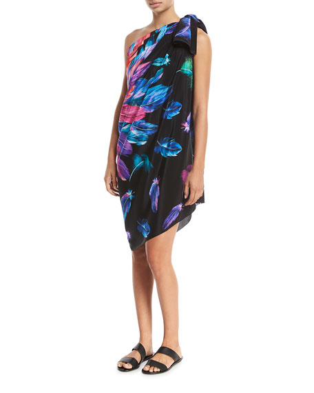 Reverie Feather-Printed Silk Pareo Coverup