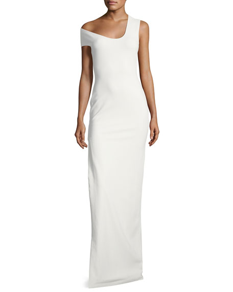 One-Shoulder Crepe-Knit Evening Gown