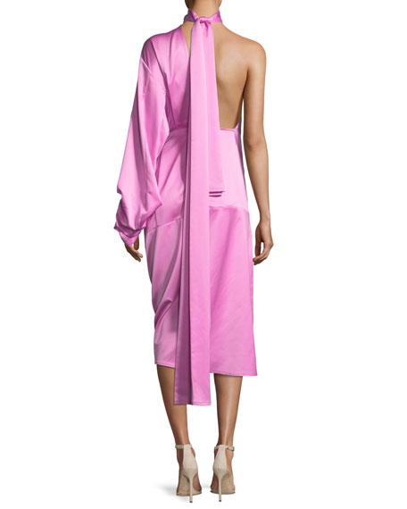 Yoshio One-Shoulder Side-Twist Satin Midi Dress