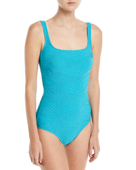 Essence Square-Neck One-Piece Textured Swimsuit