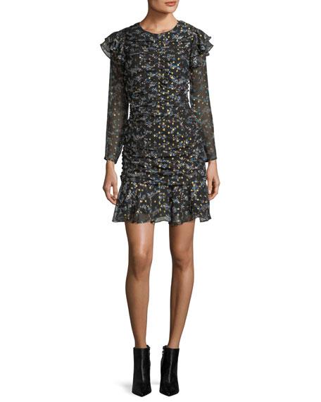 Parc Jewel-Neck Ruched Floral-Print Mini Dress