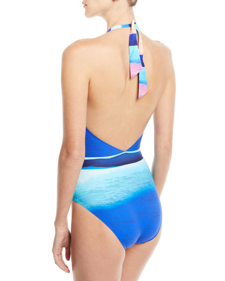 Seascape Deep-V Halter One-Piece Swimsuit