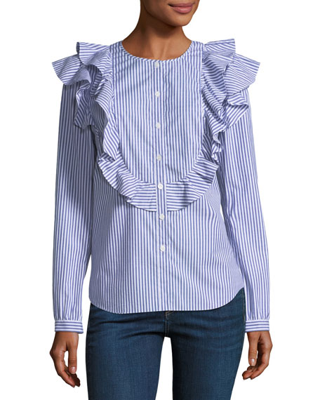 Asher Crewneck Button-Front Long-Sleeve Poplin Top