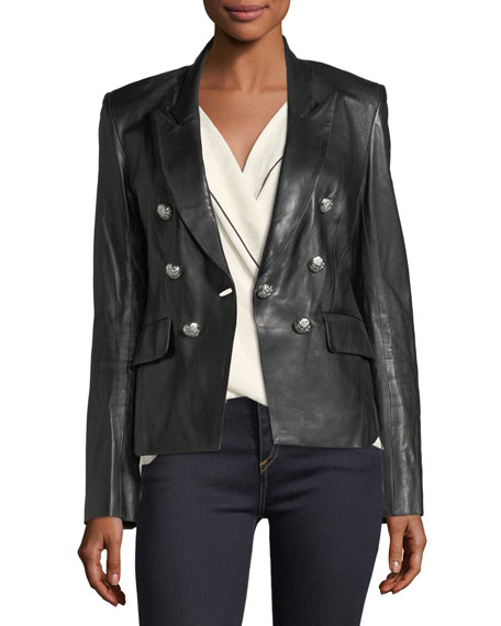 Cooke Peak-Lapel Leather Jacket