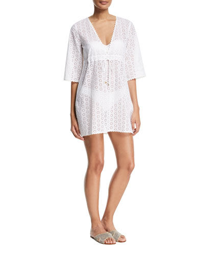 Broderie Anglaise Coverup Beach Dress