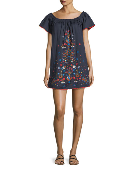 Wildflower Embroidered Beach Coverup Dress