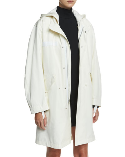 Hooded Zip-Front Parka Coat