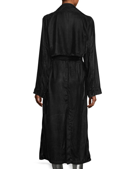 Karina Long-Sleeve Velvet Robe Duster