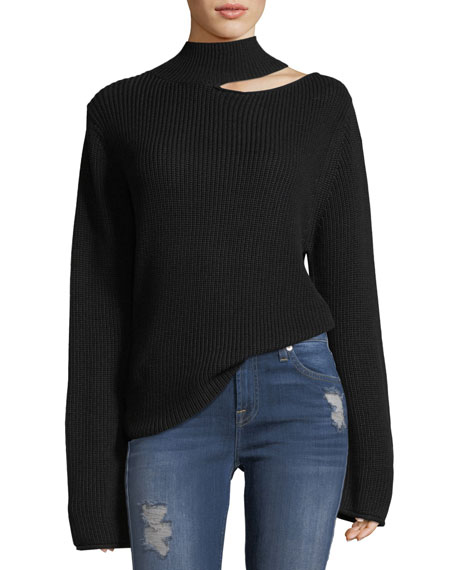 Langley Mock-Neck Knit Sweater with Slit Detail