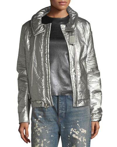 Astro Metallic Zip-Front Moto Jacket