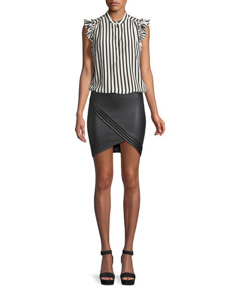 Blossom Lamb Leather Mini Skirt with Pleating Detail