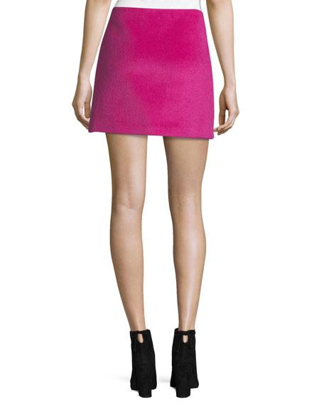 Helmut Lang Re-Edition Brushed Alpaca-Wool A-Line Mini Skirt
