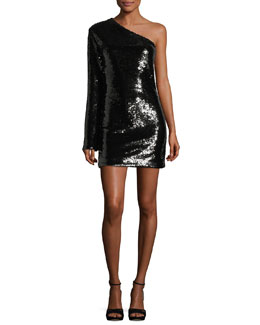 Edie One-Shoulder Sequined Cocktail Dress