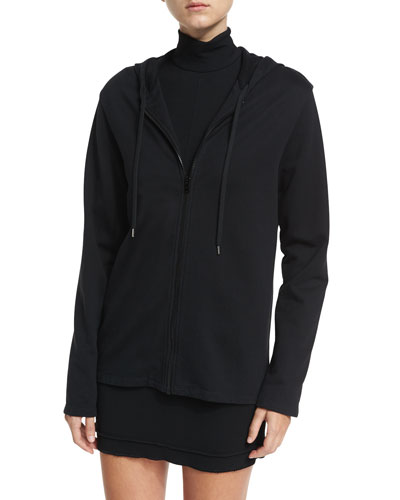Zip-Front French Terry Hooded Jacket