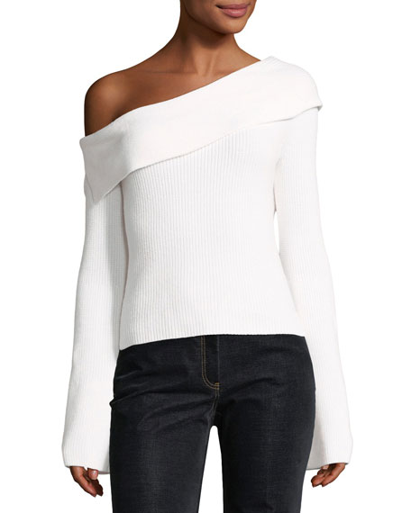 One-Shoulder Fold-Over Long-Sleeve Ribbed Sweater