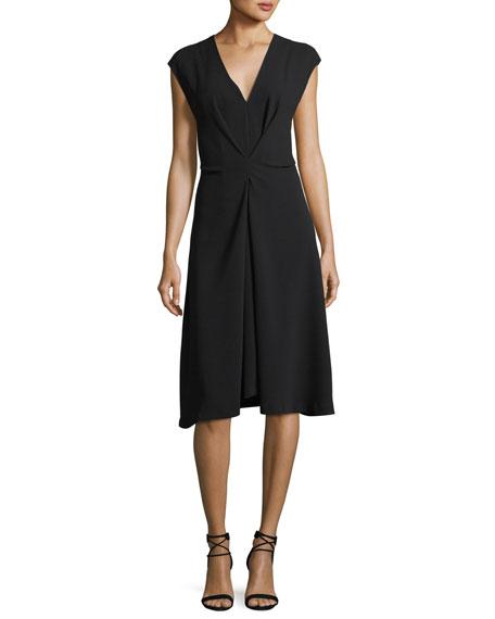 V-Neck Cap-Sleeve Crepe Midi Dress