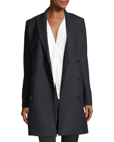New Pure Flannel Double-Breasted Wool Blazer Dress