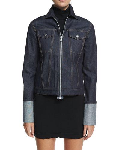 Zip-Front Folded-Cuffs Denim Jacket