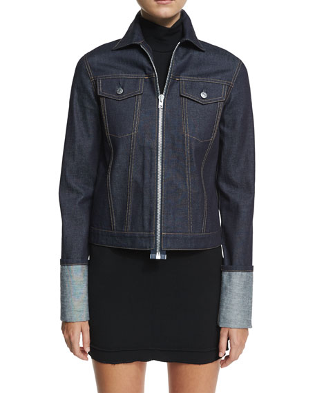 Helmut Lang Re-Edition Zip-Front Folded-Cuffs Denim Jacket