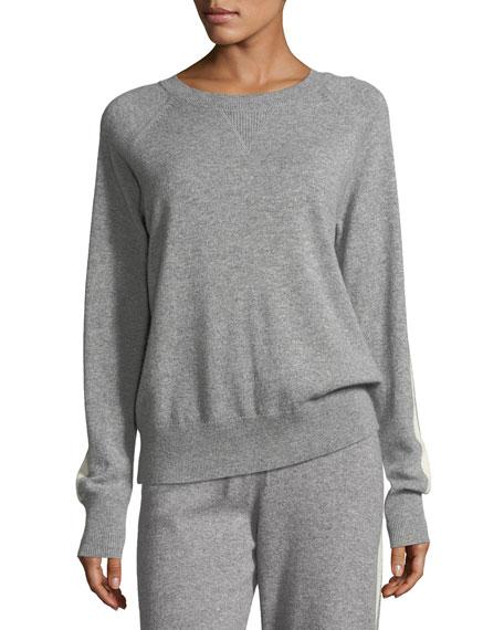 Athletic Stripe Crewneck Cashmere Sweater