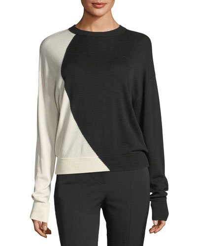 Colorblocked Oversized Intarsia Crewneck Cashmere-Silk Sweater