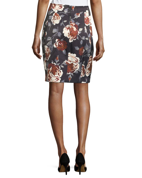 Hourglass Floral-Print Straight Satin Skirt