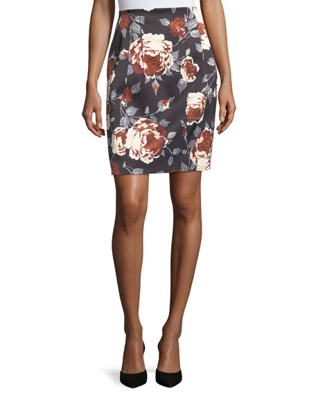 Hourglass Floral-Print Straight Satin Skirt