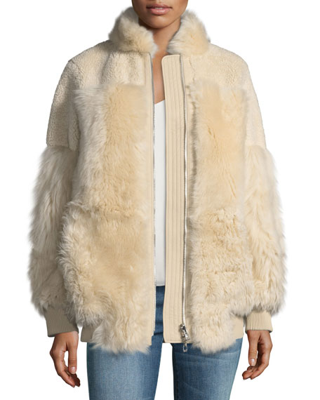 Zip-Front Reversible Shearling Patchwork Coat