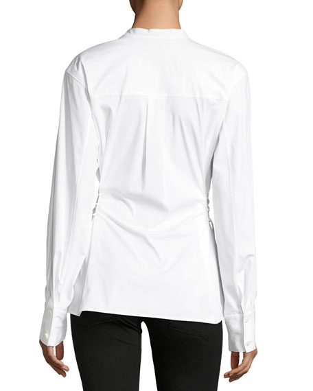 Lace-Up Band-Collar Blouse